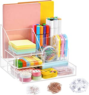 Marbrasse Upgraded Acrylic Desk Organizer + 2 Drawers, Acrylic Pen Organizer for Desk, All-in-One Art Supply Storage Organ...