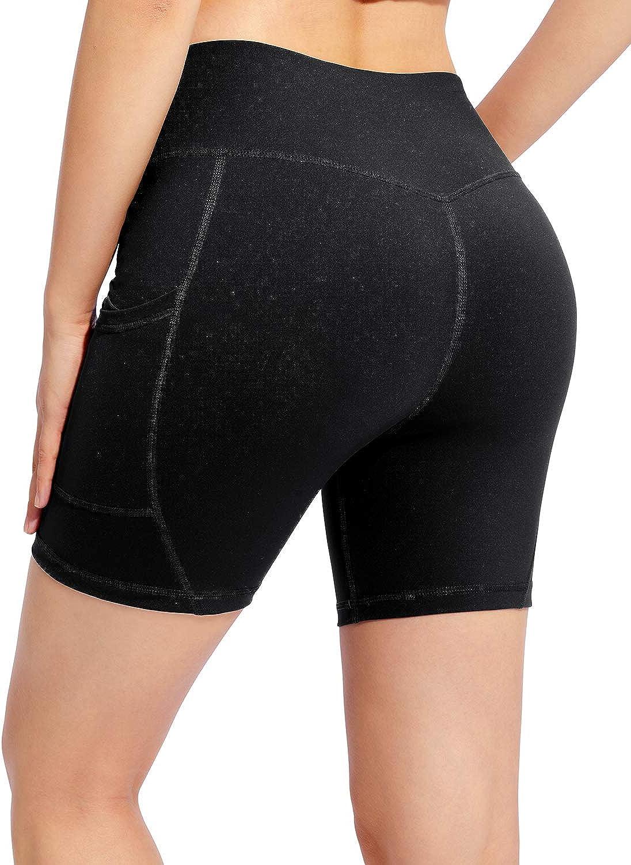 OUGES/Womens/High/Waist/Biker/Workout/Running/Shorts/Yoga/Gym/Shorts/with/Pockets/6///5