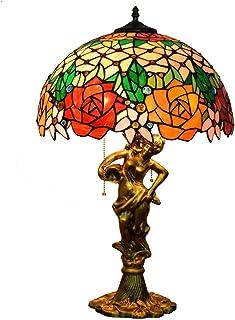 """QGL-HQ 16"""" Tiffany Lampe de Bureau Magnifique européenne Rose Couleur Verre Salon Salle à Manger Chambre Lampe de Table Be..."""