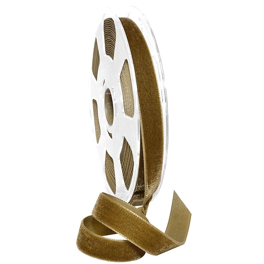 Morex Ribbon Nylon, 5/8 inch by 11 Yards, Antique Gold, Item 01215/10-533 Nylvalour Velvet Ribbon 5/8