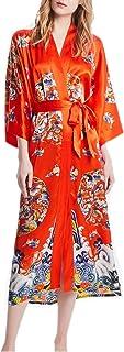 prettystern Damen Bodenlang Seide Kimono Morgenmantel Robe