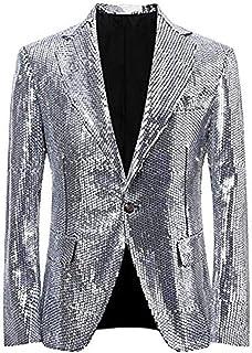 Men's Silver Sequined Nightclub Tuxedo One Button Blazer Jacket Wedding Coat