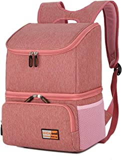 Breast Pump Bag Backpack - Cooler and Moistureproof Bag Double Layer for Mother Outdoor Working Backpack,Can Hold Big Size Breast Pump (Pink)