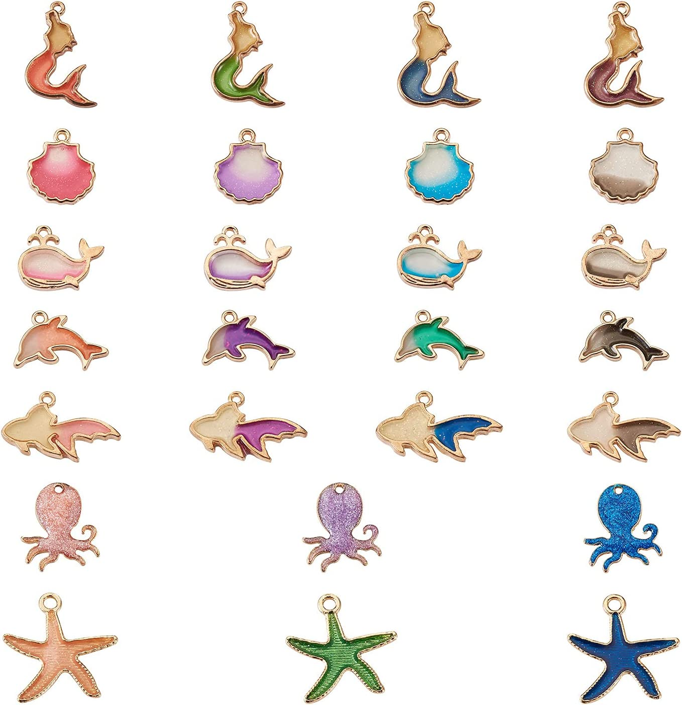 Cheriswelry 52pcs Ocean Award Style Alloy Resin Limited Special Price Pendants with Enamel C