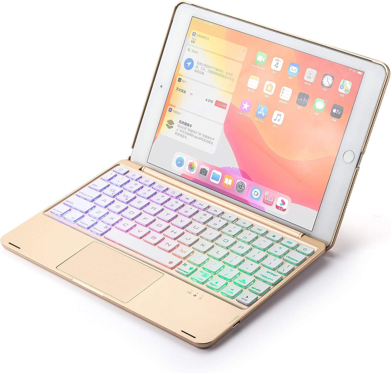 KMXDD iPad 9.7 inch Touchpad Backlit Keyboard Case Aluminum iPad 6 iPad 5 iPad Air 2 iPad Pro 9.7 Multi-Touch Mouse Keyboard case iPad 9.7 Cover (iPad6/iPad5/iPadPro9.7/iPadAir2, Gold)