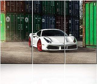 TUMOVO Classic Car Canvas Wall Art Framed White Ferrari Boys Fast Car Cool Sports Poster 3 Pieces 3D Diamond Print Paintin...