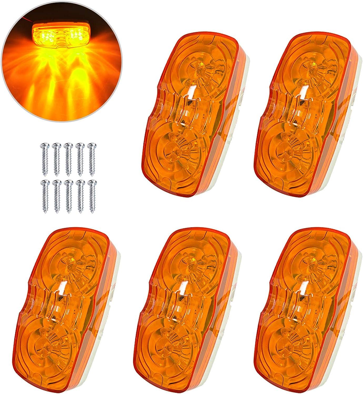 Ranking TOP16 5Pcs Amber Trailer Marker Light 10 Side LED Bullseye Mark Double Fixed price for sale