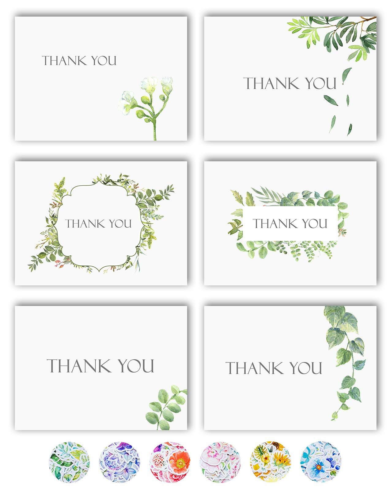 Amazon Com Thank You Cards 36 Watercolor Floral Thank You Notes Box Set With 40 White Envelopes And Bonus Stikers Blank Inside Perfect For Wedding Baby And Bridal Shower