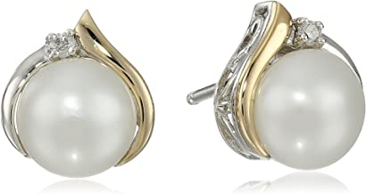 Sterling Silver and 14k Yellow Gold Diamond Accent Freshwater Cultured Pearl Stud Earrings (7mm)