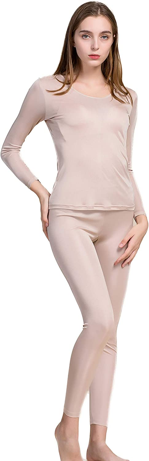CLC Women's Pure Mulberry Silk Knitted Thermal Underwear Pajama Set