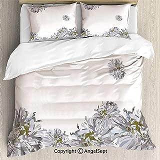 SfeatruAngel Luxe Bedding SetsFlourishing Summer Fusion Poppy Chamomile Purity Icons of Habitat Art,Twin Size,Microfiber 3 Piece Duvet Cover Set, Beding Set,Grey Mustard