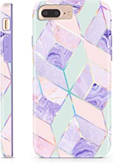 CAOUME iPhone 7 Plus/8 Plus/6 Plus/6S Plus Case - Holographic Geometric Marble Design Purple Blue - Protective Stylish Cases for Apple Phone - Cover with Silicone Bumper Defender