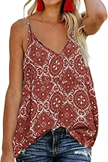 1a05376038676 BLENCOT Women s Button Down V Neck Strappy Tank Tops Loose Casual  Sleeveless Shirts Blouses