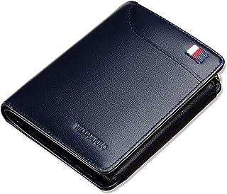 WILLIAMPOLO Men Wallet Genuine Leather Slim Bifold Money Clips Small Front Pocket Men's Wallets Credit Card Holder Organiz...