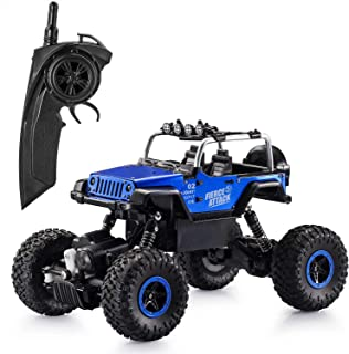 Tobeape RC Car, Wireless Remote Control Off Road RC Toy Car, 1/18 Scale High Speed RC Truck, 4 Wheel Drive Jeep, Birthday Gift for Children, Kids (2 Rechargeable Batteries Included) - Blue