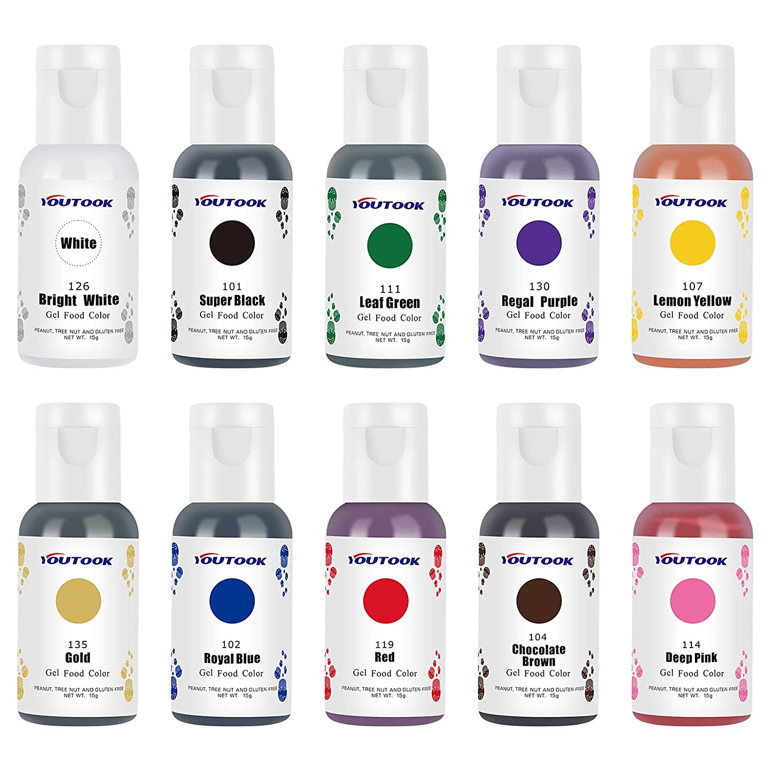 Gel Food Coloring 10 x 15ML, Tasteless Gel Food Coloring for Cake Decorating Baking Fondant Cookie Frosting, Vibrant Icing Gel Colors Set, Very Suitable for Home & Bakery Baking Use (15g/Bottles)