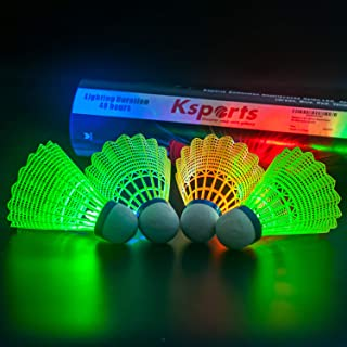 Ksports LED Badminton Shuttlecocks 4 Pack Tube − Glow in The Dark Lighting Birdies Shuttlecocks − with 4 Different LED Colors − Red Green Blue Yellow