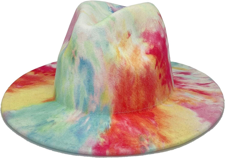Gossifan Women Classic Wide Brim Panama Hat Tie Dye Ladies Floppy Fedoras Hat