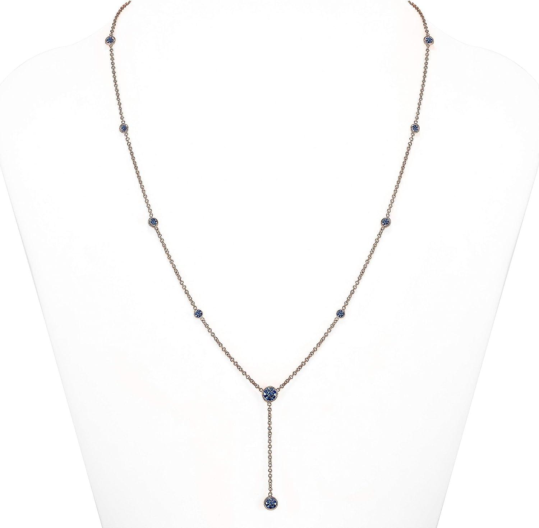 TOUSIATTAR Sapphire Y Necklace Albuquerque Mall - Solid Popular popular 14K Gold 18K Pendant or
