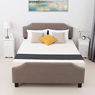 mecor Queen Upholstered Linen Platform Bed with Curved Shape Headboard and Footboard, Metal Frame with Strong Wood Slat Support, Headboard Height Adjustable, No Box Spring Needed, Brown, Queen Size