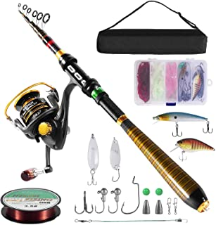 Milerong Fishing Rod and Reel Combo,Carbon Fiber Telescopic Fishing Pole with Stainless SteelSpinning Fishing Reel, Porta...