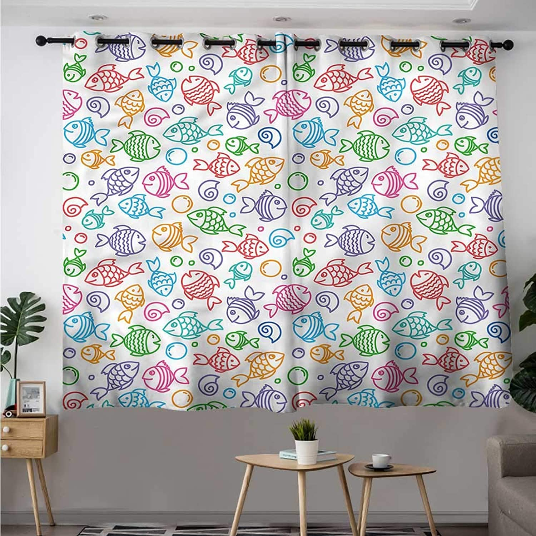 Fbdace Kids Blackout Curtain Funny Fish Aquaic Motif Space Decorations Simple Stylish W 63  XL 45