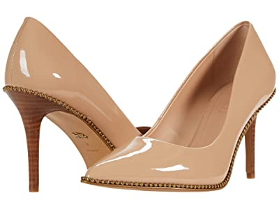 COACH 85 mm Waverly Pump with Beadchain (Beechwood Patent Leather) Women