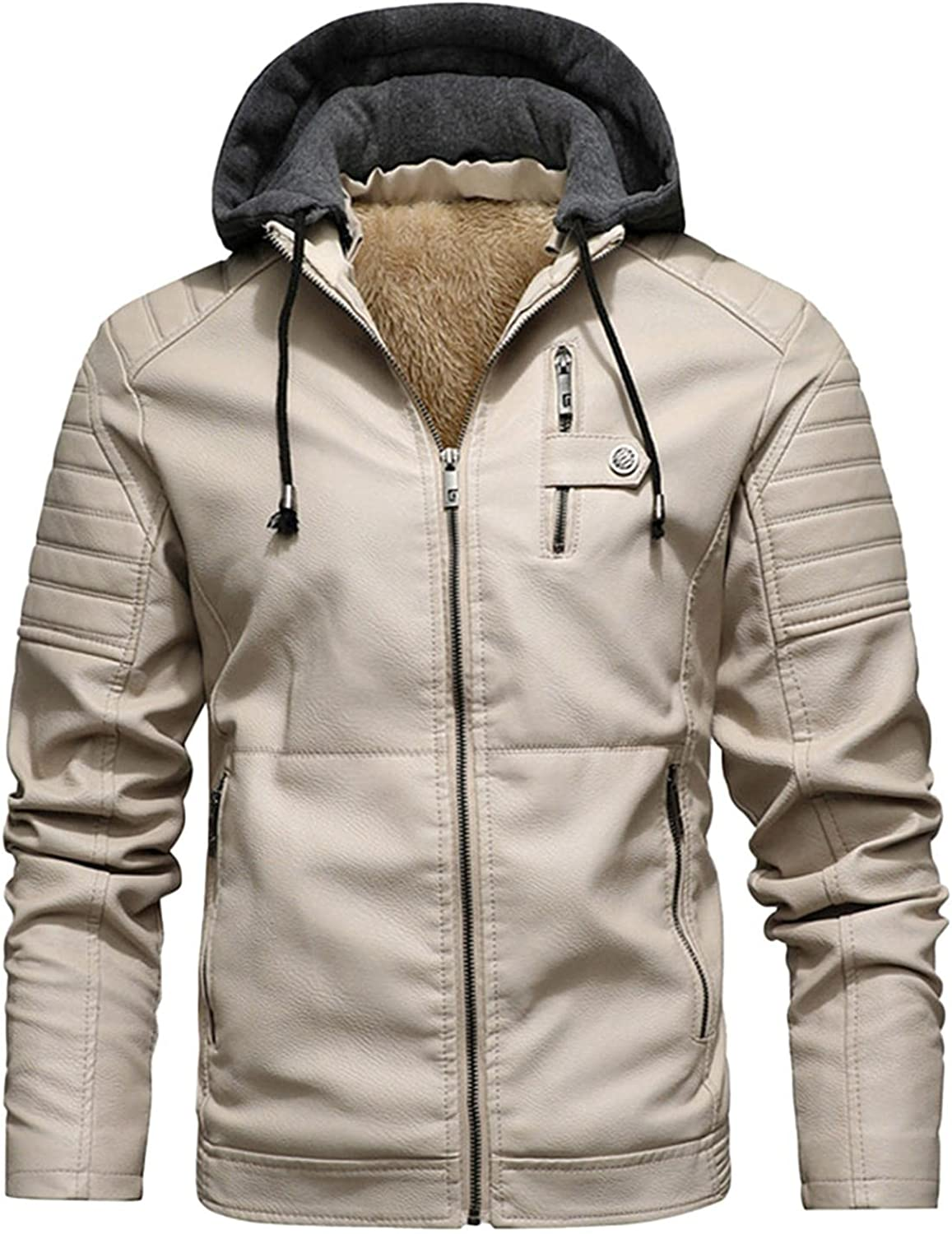 PHSHY Mens Fleece Faux Leather Jacket Motorcycle Bomber Jacket Stand Collar Zipper Windbreaker with a Removed Hooded