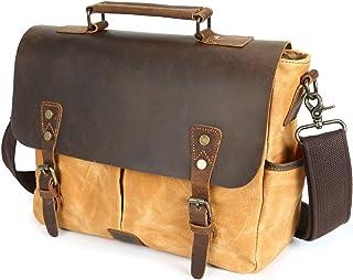 Men's Messenger Bag Oil Wax Canvas Bag Waterproof Retro Crazy Leather Portable Briefcase Shoulder Bag (Color : Orange, Size : M)