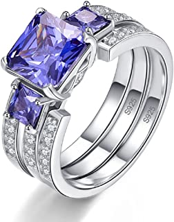 Women's 925 Sterling Silver 4ct Created Tanzanite Past Present Future Wedding Band Engagement Rings Set