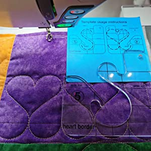 HONEYSEW Free Motion Quilting Template Series 5 with Quilting Frame for Domestic Sewing Machine Ruler (Heart Border Template)