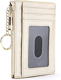 Leather Zip Credit Card Holder Wallet with ID Window Keychain RFID Blocking