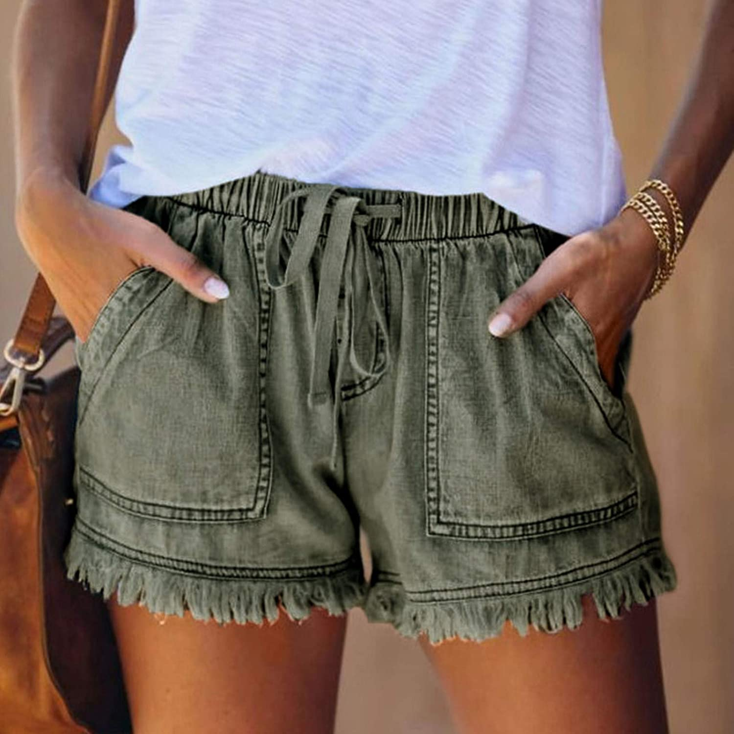 Women's Ripped Denim Hole Jean Shorts Mid Rise Stretchy Folded Hem Hot Short Jeans Casual Summer Jeans with Pockets