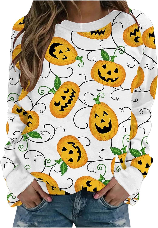 Hemlock Women Halloween Shirts Long Sleeve Crewneck Tee Blouse Slim Shirts Pumpkin Print Tops Outwear