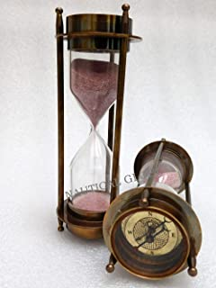 "KHUMYAYAD 7.5"" Decorative Brass sand timer vintage maritime 5 min hour glass with fully functional compasses"