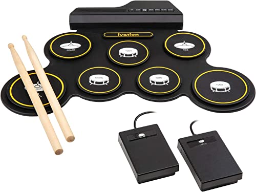 wholesale Ivation Portable Electronic Drum Pad - Digital Roll-Up Touch Sensitive Drum Practice Kit online sale - 7 Labeled Pads 2 Foot discount Pedals Kids Children Beginners (No Speakers/AAA Battery Operated) sale
