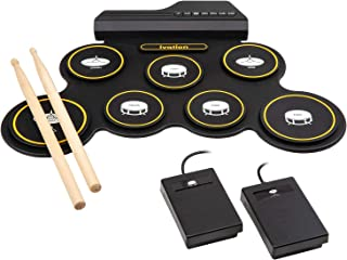 Ivation Portable Electronic Drum Pad - Battery Operated (No Speakers) - Digital Roll-Up Touch Sensitive Drum Practice Kit...