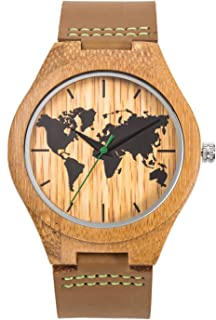 Sentai Men's World Map Wooden Watch, Handmade Natural Bamboo Wood, Genuine Leather Strap