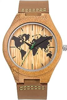 Sentai Men's World Map Wooden Watch, Handmade Natural Bamboo Wood, Genuine Leather Strap