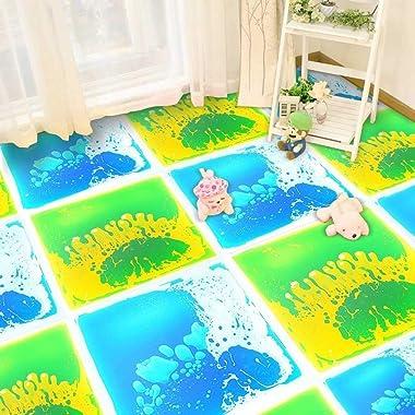 LONGKING 12 Inch X 12 Inch (30cm X 30cm) Liquid Encased Decorative Tiles, Bright Blue