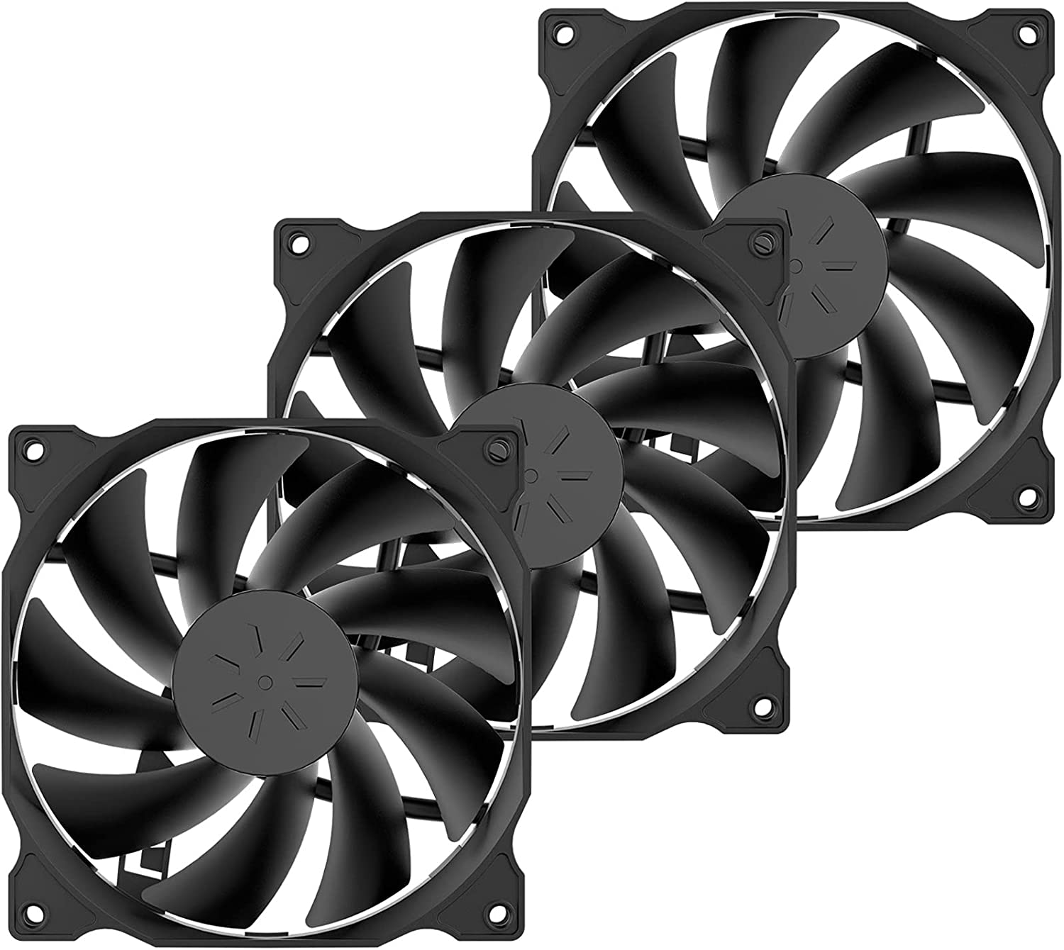 uphere 3-Pack PWM 4PIN Long Life Computer Case Fan 120mm Cooling Case Fan for Computer Cases Cooling,12BK4-3