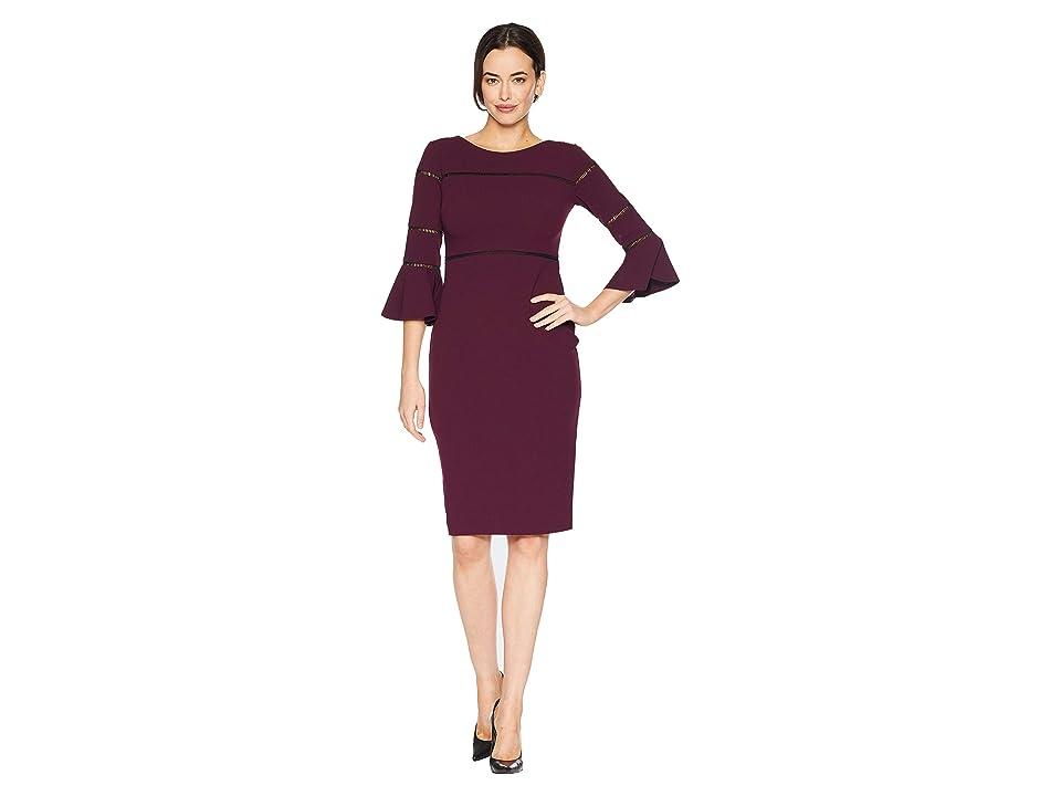 Taylor Solid Bell Sleeve Sheath Dress (Burgundy) Women