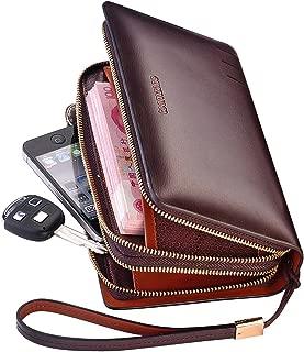 Teemzone Men's Genuine Leather Business Clutch Wrist Bag Handbag Organizer Card Cash Holder