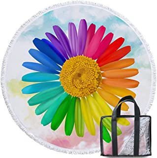 Sleepwish Rainbow Flower Round Beach Towel Blanket Brightly Hot Colored Daisies Women Floral Towels Circle Beach Blanket with Fringe (Pink Teal Blue, 60