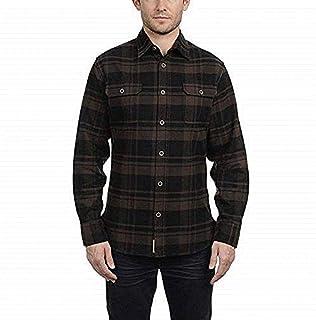 Jachs Men's Brawny Flannel Shirt (M, Brown/Black)