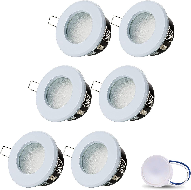 LED Einbaustrahler VENEDIG (Weiss) Rund Inkl. 6 X 5W LED Modul Neutralweiss 230V IP44 LED Deckenstrahler Einbauleuchte Deckeneinbaustrahler Einbauspot Deckeneinbauleuchte Nur 60mm Einbautiefe