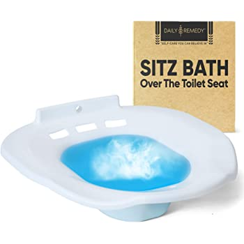 Sitz Bath Toilet SEAT - Perineal Soaking Bath for Postpartum Care, Hemorrhoid Treatment & Yoni Steam - Soothes and Cleanse Vagina/Anal Inflammation. Fits Elongated, Commode, Oval, Oblong Toilets