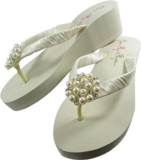 Pearl Ivory Flip Flops, Wedge Heel, Rhinestone and Satin Sandals, Weddings, Formal, Bridal or Dance Shoes