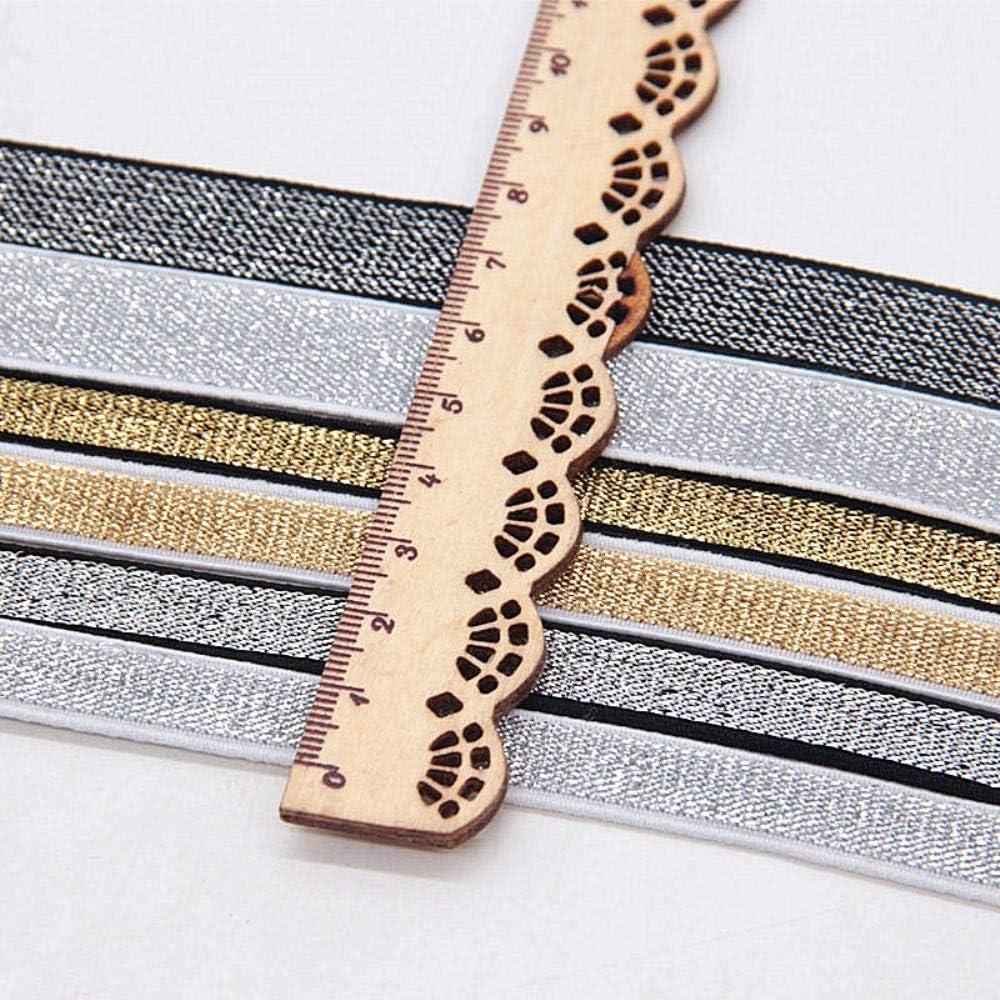 MIZ Gold Silk Silver Flat Elastic Bands 10//15//25//40mm High-Density Woven Rubber Band DIY Garment Trousers Sewing Accessories,Black Black,10mm
