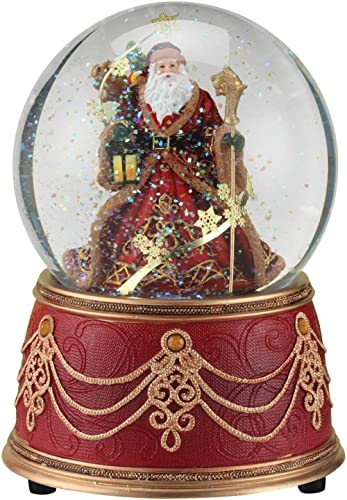 "Roman Santa with Snowflakes Musical We Wish You a Merry Christmas 100mm Snow Globe (5.5"" 100mm)"